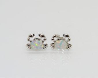 Vintage Sterling Silver White Opal Crab Stud Earrings