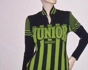 80s 90s Vintage JPG Gaultier Junior Wool Sweater Three-Dimensional Signature Cardigan Top Medium
