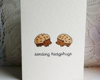 Sending Hedgehugs Hedgehog Handmade Card