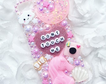 Dont Touch Me Unicorn Pink & White Decoden Phone Case - Can be made for any device