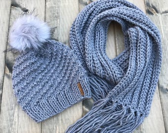 Women's Gray Hat and Scarf Set | Knit Spiral Slouchy Beanie with Faux Fur Pompom and Matching Ribbed Fringe Scarf