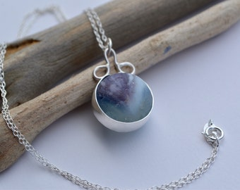 Sea Tumbled Marble in Sterling Silver Bezel and Silver Wire Settinng