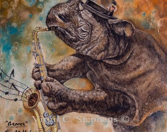 "Rhino art,  entitled,""Grover"", s/n limited edition print of 195, from my original oil painting Rhino playing the saxophone, music art"