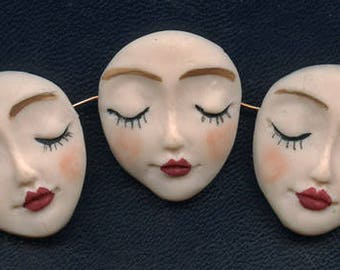 """Angel Face  Beads   Lot   of 3  One of a Kind      1 1/4 """" x 1""""  Polymer Detailed Side Drilled BMC 1"""