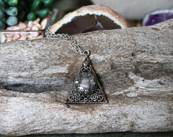 Moonstone Necklace w/ Roses, Rose Jewelry, Pyramid Necklace, Gift for Her, Triangle Pendant, Bohemian Jewelry Gothic Jewelry Pagan Necklace