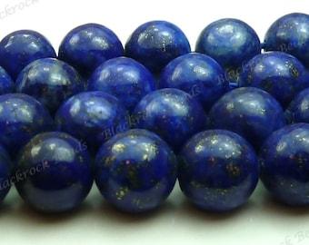 Lapis Lazuli Round Natural Gemstone Beads - 20pcs - 9mm to 10mm, Dark Blue, Pyrite Flecks - BC1