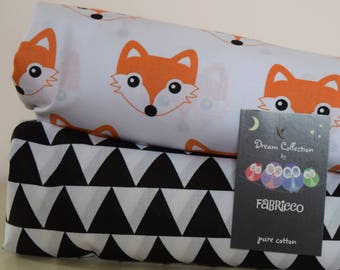 2 x Woodland Cot-Bed-Fitted-Sheet-100-COTTON- Cot Bed Fitted Sheet 100% COTTON Black White Orange Fox Triangle Monochrome Bedding Toddler