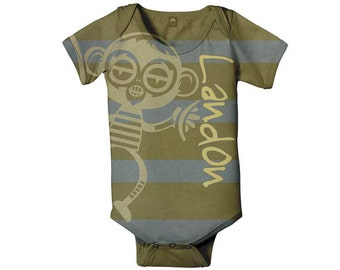 Baby Boy Bodysuit, Alien Monkey Stripes Personalized  Infant Onepiece Snapsuit, Custom One Piece Baby Clothing