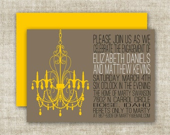 Chandelier BRIDAL SHOWER INVITATIONS In Yellow and Grey Custom Digital Printable Cards - 90575158