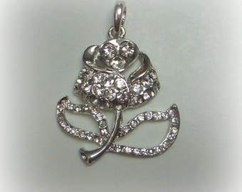 Rhinestone ROSE pendant