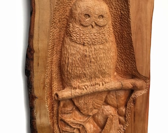 Owl Wood Carving, Cherry Wood, Hand Carved Wood Art, Wood Sculpture, Perfect Wood Gift, Wall Hanging Art, Wood Gift for Her, Handmade Wood