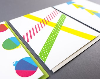 Geometric Holiday Greeting Card Set