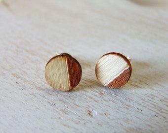 Solid silver studs - beach bride - wooden earrings - tan brown - geometric earrings - bridesmaid gift - wood earrings - geometric studs
