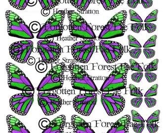 Alas de mariposa monarca verde y morado