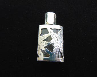 Vintage Antique Etched Sterling Silver Floral Perfume Bottle