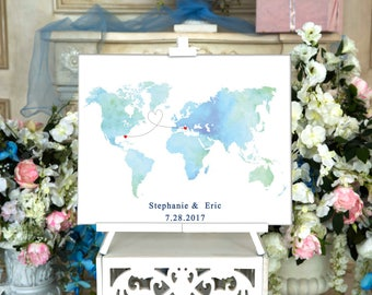 World map Wedding Guest Book Canvas Guest book Alternative Wedding Guestbook Wedding Guest book CANVAS Gift for couple Bridal shower gift