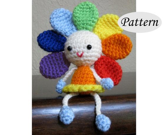 Amigurumi Flower Tutorial : Rainbow flower amigurumi pattern crochet doll pattern tutorial