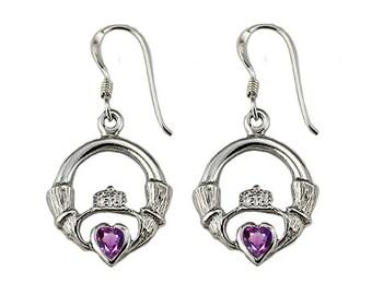 3mm Genuine Amethyst Heart Claddagh Earrings (E797-A)