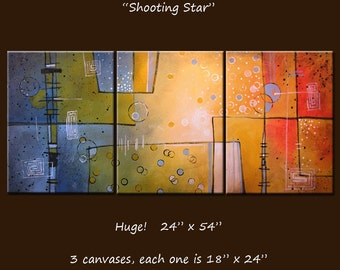 Abstract Art Painting Original Large Triptych Modern Art Wall Decor ... red black brown yellow blue green ... 24 x 54 ..Shooting Star