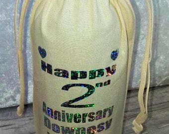 2nd wedding anniversary cotton wine bag