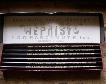 Vintage Mephisto 73B Medium Copying Pencils - Set of 12 in Original Koh-I-Noor Pencil Factory Box