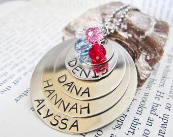 Hand Stamped Name Necklace with FOUR Names - Custom Birthstone Charms - Five Discs, Four birthstones