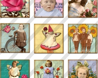 Digital Collage Sheet 1X1 Charms Inchies Spring Flowers (Sheet no.FS89) Instant Download