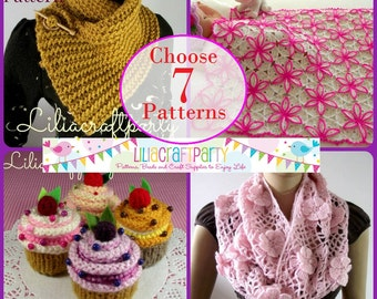 PATTERN DISCOUNT - CHOOSE 7 - Knitting & Crochet Patterns Your choice of 7 patterns Instant Download Tutorials with clear instructions