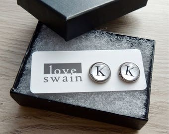 Initial earrings // Typewriter earrings // personalized earrings // Letter K earrings