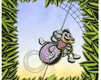 Children illustration - spider with web - art print of original ink/airbrush artwork