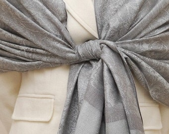 Soft, silver paisley shawl, scarf, wrap with fringes, bridal, bridesmaids gifts, wedding gifts, christmas gifts