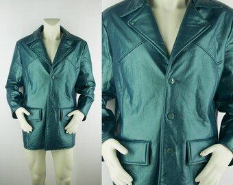 90s Men's Iridescent Vinyl Coat Size Large L Shiny Vegan Leather Green Vaporwave Funky Groovy Teal Turquoise Rave Cool Glam Cyber Grunge