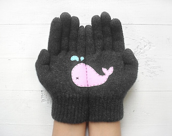 Whale Gloves, Animal Gift, Wildlife Gift, Whaley Gift, Clothing Gift, Sales Event, Gift For Her, Anniversary Gift, Whales, Wildlife Kingdom