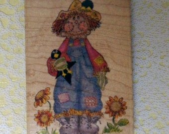 Stamp Affair Wood Mounted Rubber Stamp Scarecrow