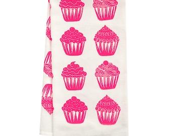 organic tea towel cupcake all over pattern
