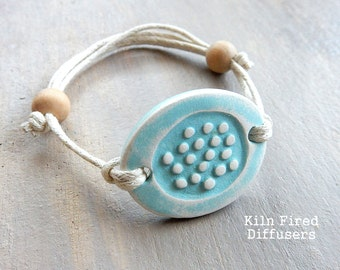 Soft Aqua Blue Essential Oil Diffuser BRACELET White Organic Kiln Fired Clay Beach Jewelry Adjustable Natural Minimalist Boho Earthy Gift