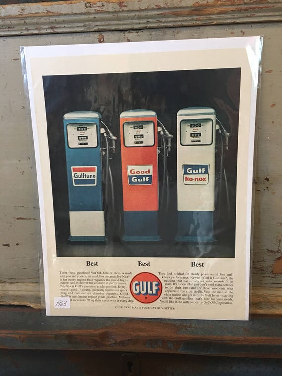 1963 Original Advertising GULF Gasoline Pumps - Vintage Ad