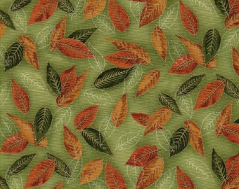 Nature's Brilliance Elm Leaves w/ Gold Gilding Kaufman 1 Yard Fabric