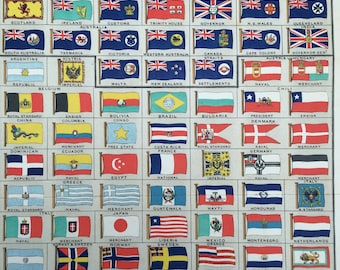 1900 British and Colonial Flags Original Antique Lithograph - 9 x 12 inches - Vexillology - Wall Decor - Standard - Ensign