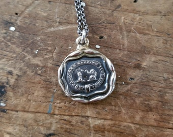 Bronze Elephant Wax Seal Necklace from an antique wax seal - Take Breath, Pull Strong - 114