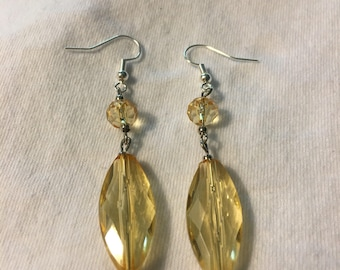 Yellow  and silver earrings