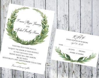 Laurel Wreath 5x7 Invitation and Respond