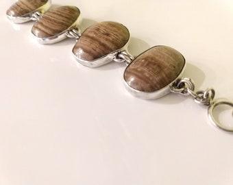 Banded Jasper Sterling Silver Mexico HOB 925 Estate Bracelet Large Statement Jewelry Brown Banded Jasper Natural Stones