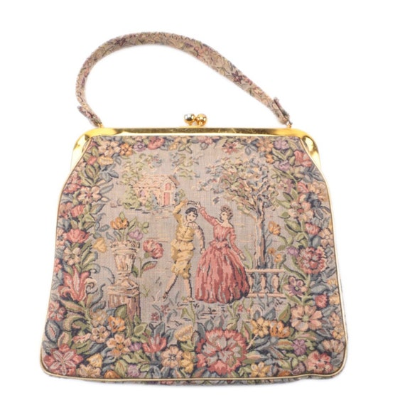 Petit point floral handbag with 18th century style courtier dancing with lady, 1960s.