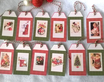 12 Christmas tags vintage on Plaid background images