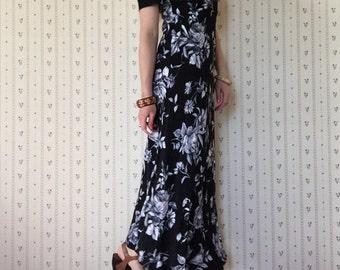1990s boho navy blue maxi dress | flower print bohemian maxi dress