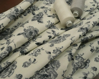 Cream and Grey Floral Print 100% woven cotton Poplin fabric - by the metre