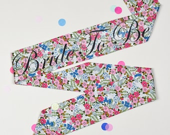 LIMITED EDITION Retro Pink & Blue Floral Bride to Be or Personalised Hen Party Sash - Alternative Hen Do / Bridal Shower /  Bachelorette