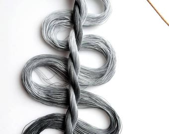 "Size 50 ""Grayscale"" hand dyed thread 6 cord cordonnet tatting crochet cotton"