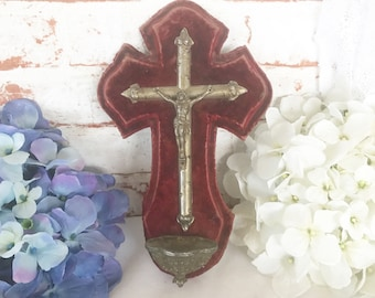 Antique French Holy Water Font, Red Velvet Crucifix Cross Vintage Benitier metal plaque, INRI home wall decor hanging, Christian catholic